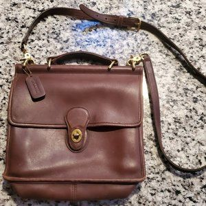Brown Leather Vintage Coach Crossbody Bag